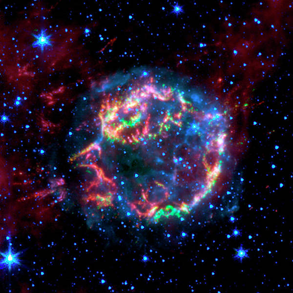 Infrared Radiation Photograph - Supernova Remnant Cassiopeia A by Nasa/jpl-caltech/science Photo Library