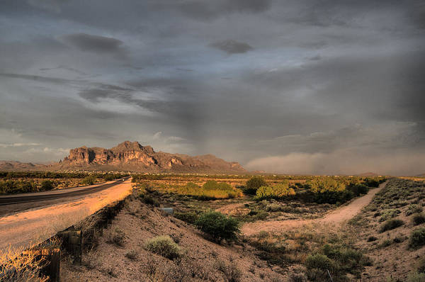 Photograph - Superstition Mountain Sand Storm by Tam Ryan