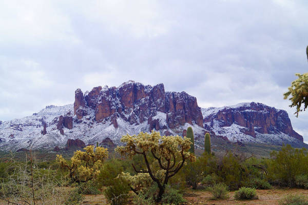 Photograph - Superstition Mountain Snow by Broderick Delaney