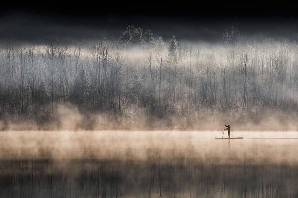 Rowing Photograph - Suping On Bohinj Lake by Miha Pavlin