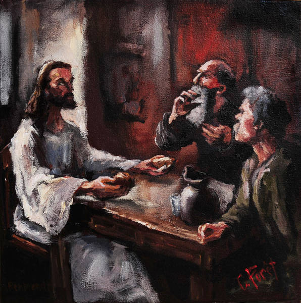 Wall Art - Painting - Supper At Emmaus by Carole Foret
