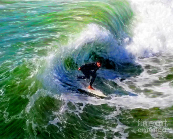 Mixed Media - Surf 3 Off The Lip by Glenn McNary