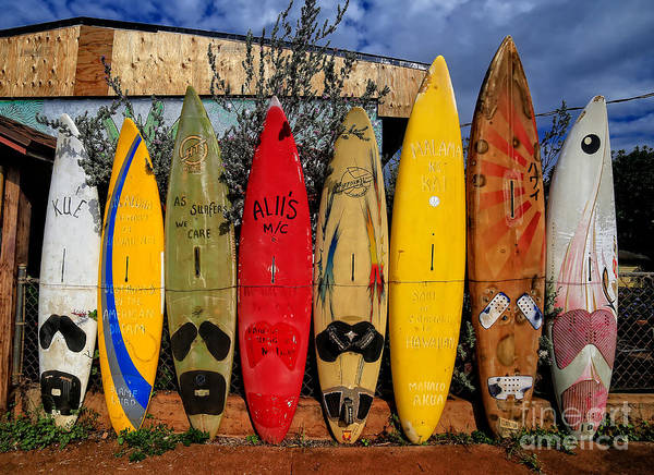 Maui Sunset Wall Art - Photograph - Surf Board Fence Maui Hawaii by Edward Fielding