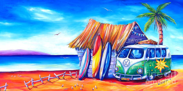Camper Wall Art - Painting - Surf Club by Deb Broughton