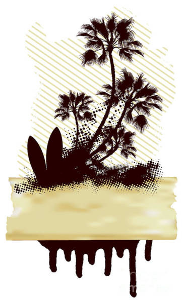 Wall Art - Digital Art - Surf Grunge Dirty Scene With Palms And by Locote