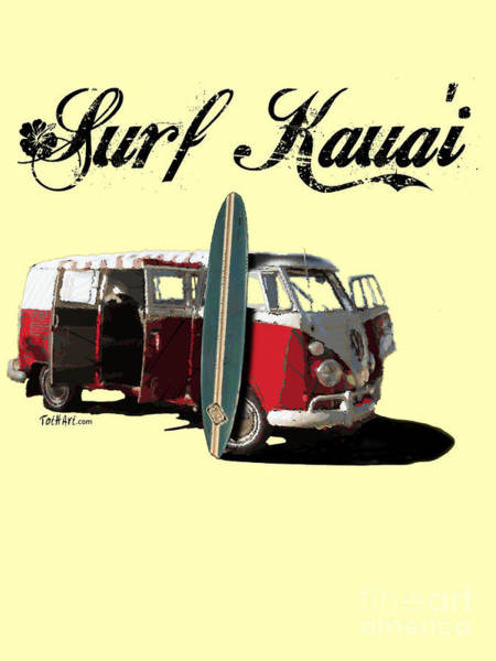 Digital Art - Surf Kauai by Laura Toth
