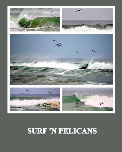 Photograph - Surf N Pelicans by AJ  Schibig