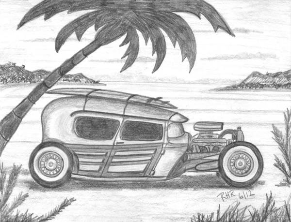 Hot Rod Drawing - Surf Rod by Ray Ratzlaff