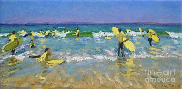 Macara Wall Art - Painting - Surf School At St Ives by Andrew Macara