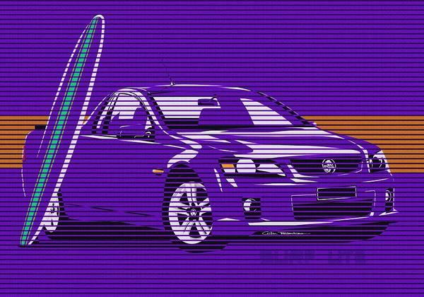 Purple Haze Digital Art - Surf Ute Purple Haze by Motorvate Studio
