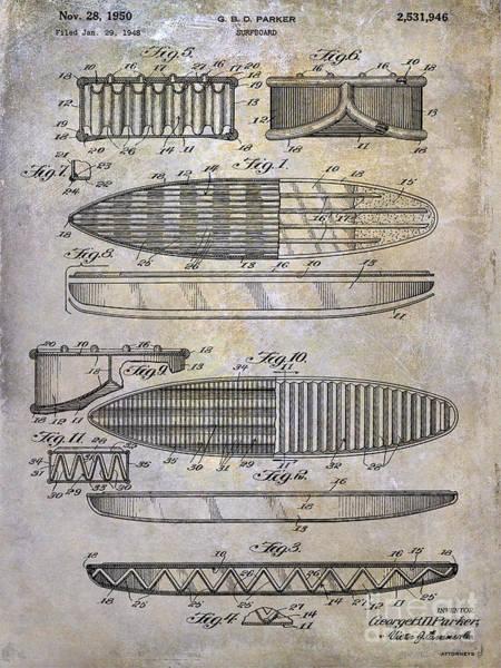 Hawaii Mixed Media - Surfboard Patent Drawing 1950 by Jon Neidert