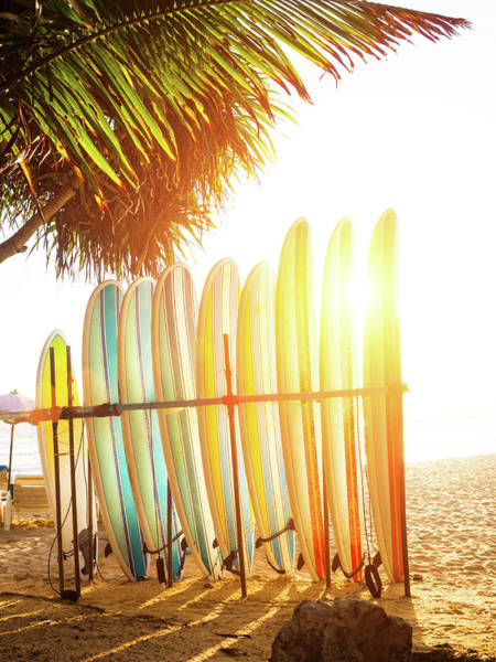 Surfboards At Ocean Beach Art Print by Arand