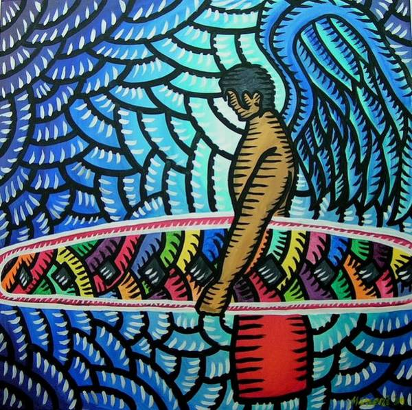 Painting - Surfer Angel 2009 by Marconi Calindas