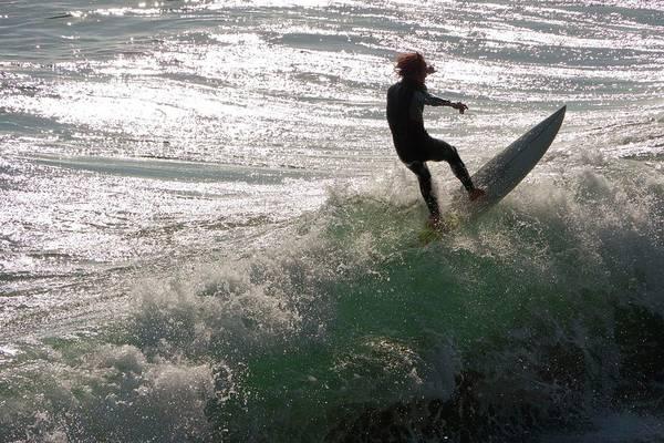 Wetsuit Wall Art - Photograph - Surfer At Laguna Beach by Peter Menzel