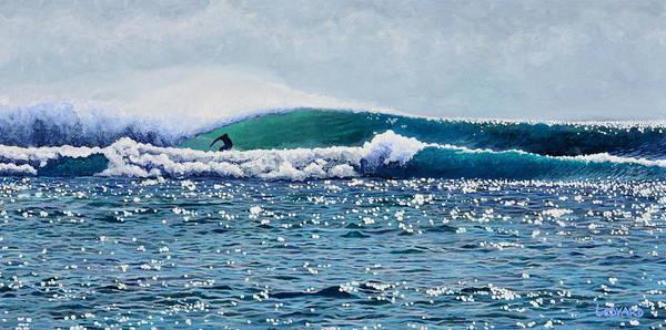 Surfer Painting - Surfer At Padang Padang by Nathan Ledyard