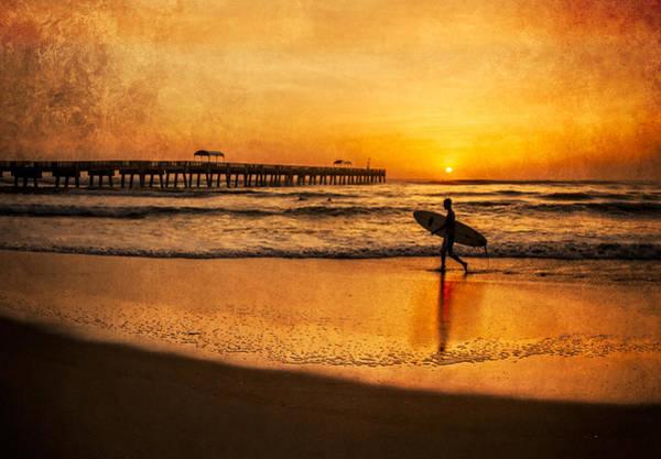 Boynton Photograph - Surfer At Sunrise by Debra and Dave Vanderlaan