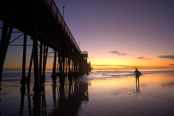 Oceanside Pier Photograph - Surfer At Sunset by Peter Tellone