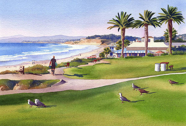 Wall Art - Painting - Surfer At Tres Palms Del Mar by Mary Helmreich