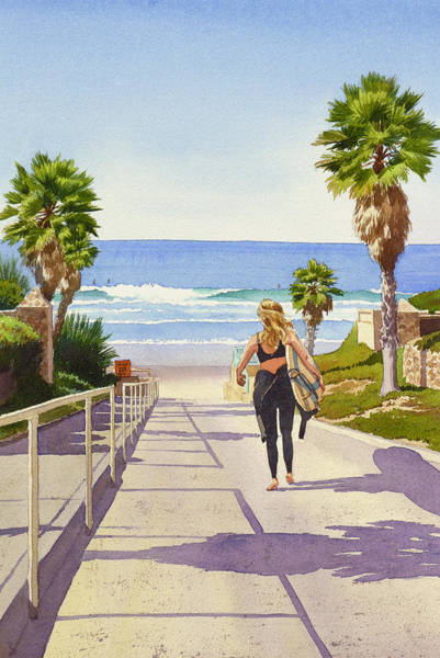 California Wall Art - Painting - Surfer Girl At Fletcher Cove by Mary Helmreich