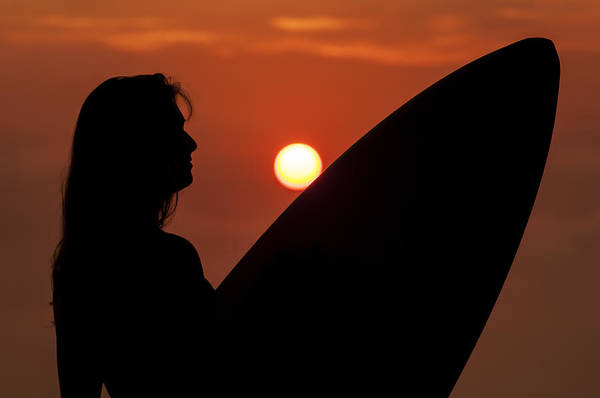 Photograph - Surfer Girl Silhouette by Lee Kirchhevel