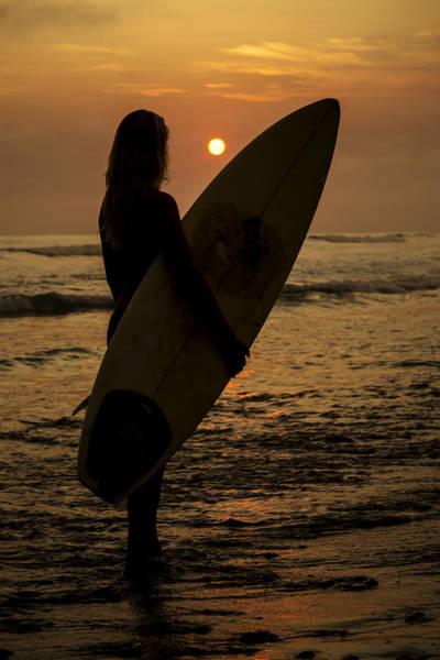 Surfer Girl Sunset Silhouette Art Print