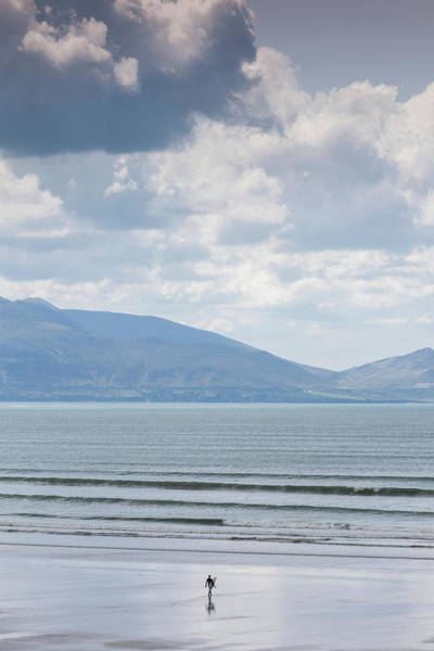Dingle Peninsula Photograph - Surfer On The Beach, Inch Strand by Panoramic Images