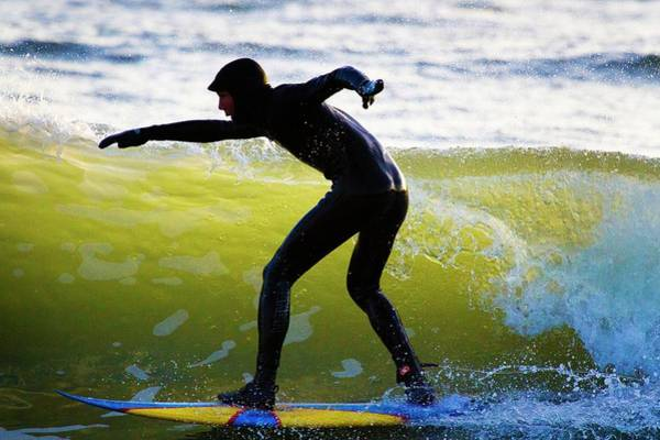 Wetsuit Wall Art - Photograph - Surfer Riding A Wave by Linda Wright