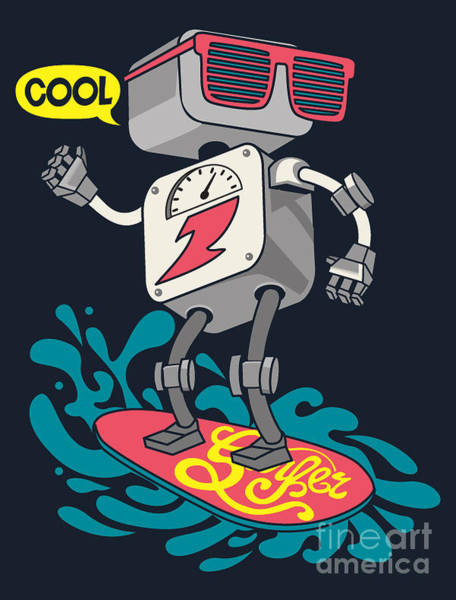 Surfer Robot Vector Design For Tee Art Print