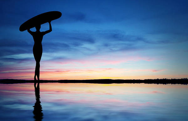 Wall Art - Photograph - Surfer Silhouette by Aged Pixel
