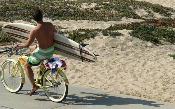 Photograph - Surfer With Board On Bike by Jeff Lowe