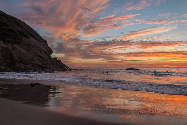 Surfers And Sunset At Strands Beach Dana Point Art Print