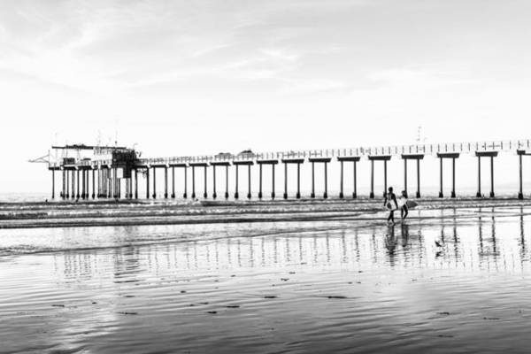 Photograph - Surfers At La Jolla Shores Beach Black And White by Priya Ghose