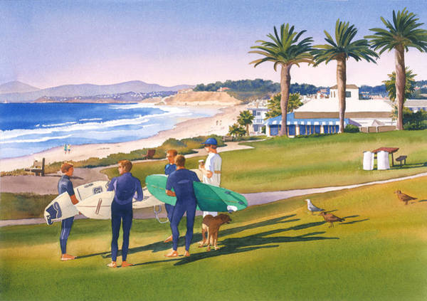 Wall Art - Painting - Surfers Gathering At Del Mar Beach by Mary Helmreich