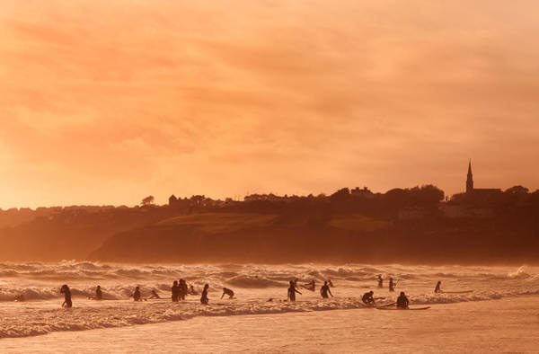 County Waterford Photograph - Surfers In Tramore Bay, County by Panoramic Images