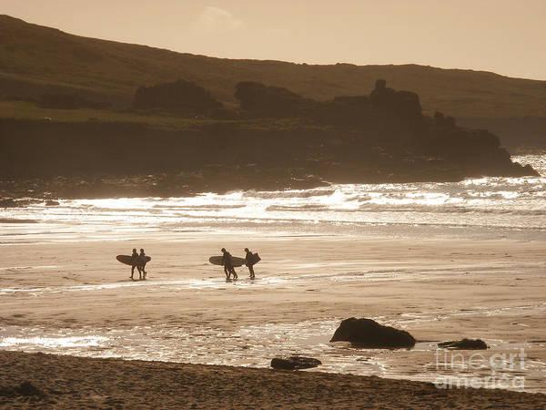 Pixel Photograph - Surfers On Beach 02 by Pixel Chimp