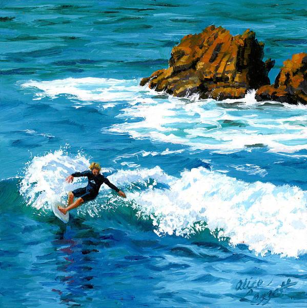 Surfer Painting - Surfin' Laguna Rocks by Alice Leggett