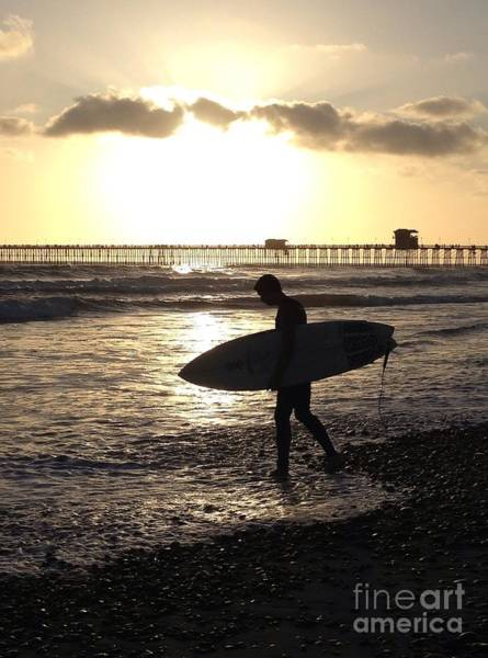 Photograph - Surfing At Sunset by Bridgette Gomes
