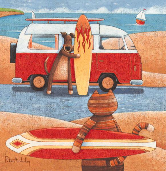 Caravan Photograph - Surfing Showdown by MGL Meiklejohn Graphics Licensing