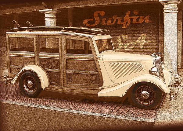 Wagon Digital Art - Surfing Usa Woodie by John Haldane