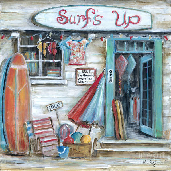 Wall Art - Painting - Surfs Up Beach Shop by Marilyn Dunlap