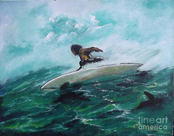 Surfs Up Art Print by Donna Chaasadah
