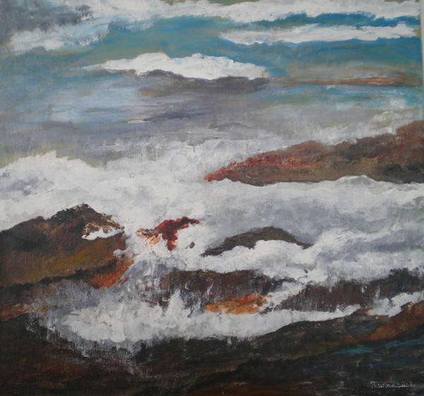 Wall Art - Painting - Surf's Up In Maine by Peggy Maunsell