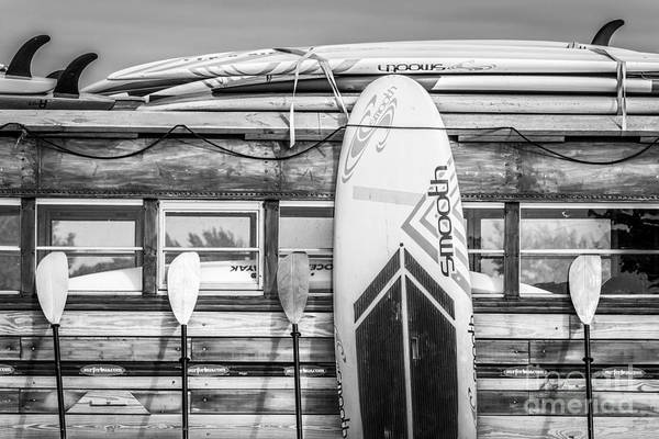 Longboard Photograph - Surfs Up - Vintage Woodie Surf Bus - Florida - Black And White by Ian Monk