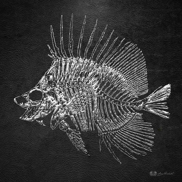 Digital Art - Surgeonfish Skeleton In Silver On Black  by Serge Averbukh