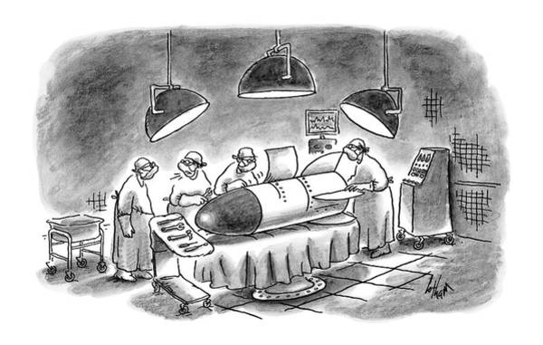 Drawing - Surgeons Working On A Bomb In Operating Room by Frank Cotham