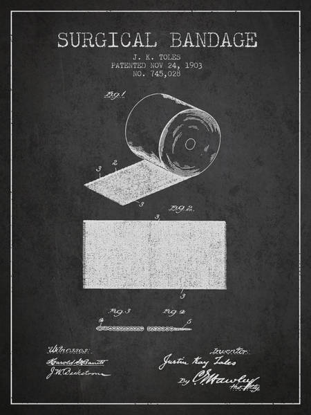 Bandage Wall Art - Digital Art - Surgical Bandage Patent From 1903- Charcoal by Aged Pixel