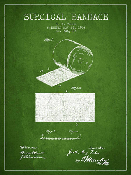 Bandage Wall Art - Digital Art - Surgical Bandage Patent From 1903- Green by Aged Pixel