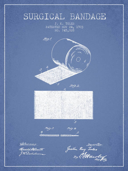 Bandage Wall Art - Digital Art - Surgical Bandage Patent From 1903- Light Blue by Aged Pixel
