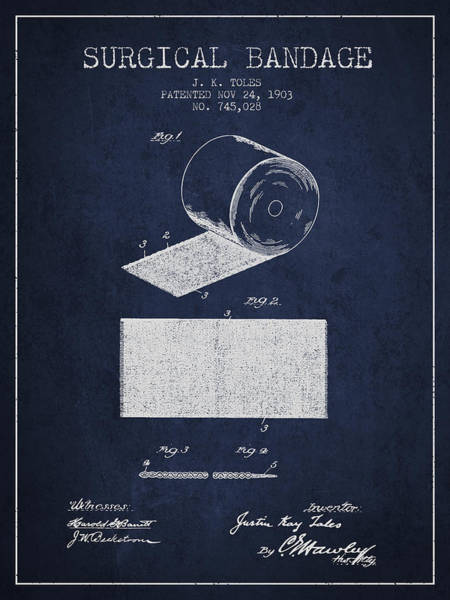 Bandage Wall Art - Digital Art - Surgical Bandage Patent From 1903- Navy Blue by Aged Pixel