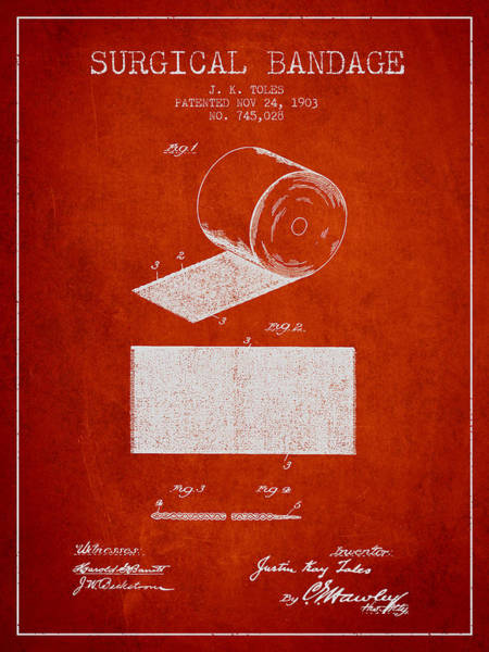 Bandage Wall Art - Digital Art - Surgical Bandage Patent From 1903- Red by Aged Pixel